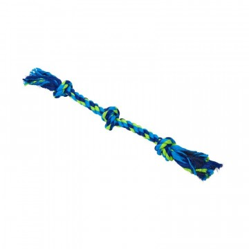 BUSTER Colour Dental Rope 3-Knot, blue/lime, medium, 50 cm