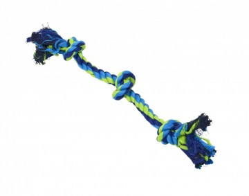 BUSTER Colour Dental Rope 3-Knot, blue/lime, small, 38 cm